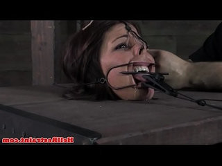 Mouth gagged bitch in bastinado session