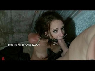 Brunette slut is tied up and abused