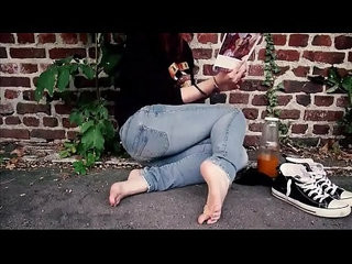College Student Studies Barefoot