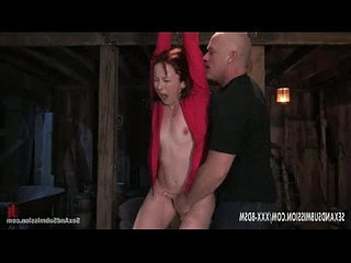 Bondage girl orgasm with her fingers from bald man